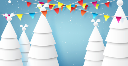 Origami christmas trees and blue sky on winter season landscape background for merry christmas and happy new year paper art style.Vector illustration. Ilustrace