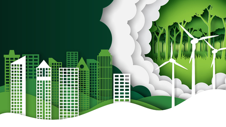 Green nature landscape and eco city background template paper art style.Ecology and environment conservation creative idea concept.Vector illustration.