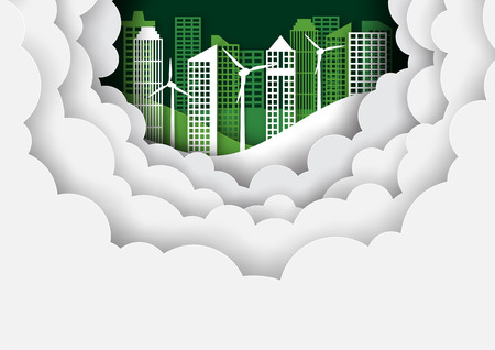 Green eco cityscape background template paper art style.Ecology and environment conservation creative idea concept.Vector illustration.