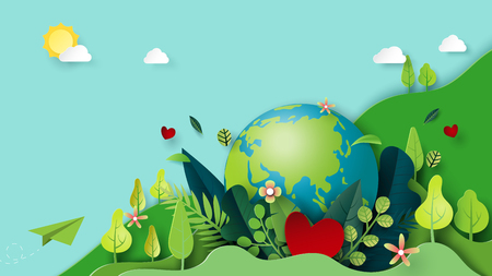 Paper art of green nature and earth day concept background template.Ecology and environment conservation concept.Vector illustration. 矢量图像