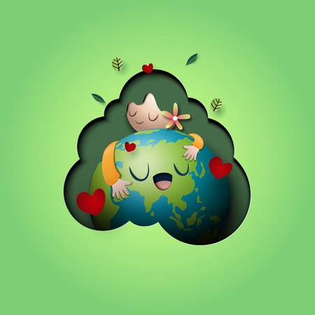 Paper art of love nature concept and mother earth day concept background template. Ecology and environment conservation creative idea concept. Vector illustration.