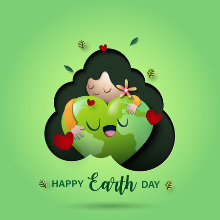 Paper art of love nature concept and mother earth day concept background template.Ecology and environment conservation concept.Vector illustration.