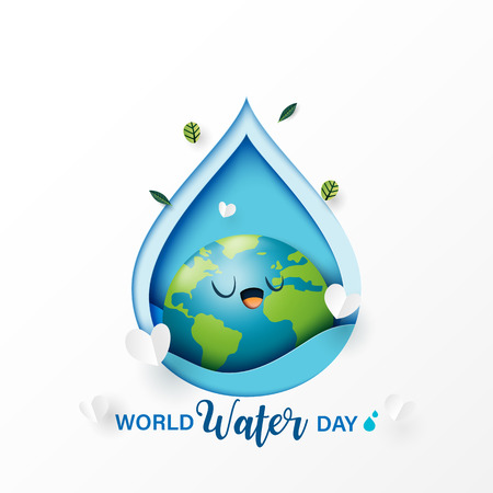 World water day.Paper art of save water for ecology and environment conservation concept design.Vector illustration. Ilustrace