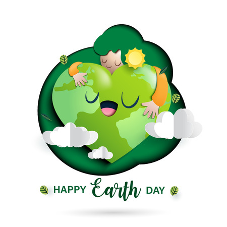 Paper art of nature concept and mother earth day concept background template.Ecology and environment conservation concept.Vector illustration.