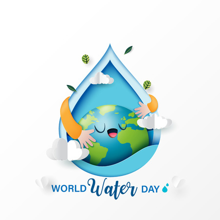 World water day.Paper art of love the earth and save water for ecology and environment conservation concept design.Vector illustration.