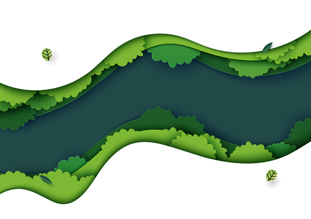 Top view of green forest canopy background.Nature and environment conservation creative idea concept of paper art style.Vector illustration.