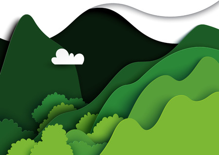 Green mountains nature landscape background.Natural and environment conservation creative idea concept of paper art style.Vector illustration.