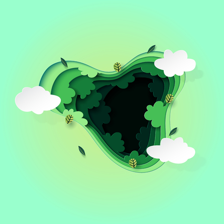 Paper art style of top view green forest canopy background.Nature and environment conservation creative idea concept.Vector illustration. Ilustrace