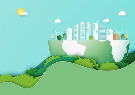 Ecology and environment conservation concept.Paper art of nature concept with save the earth and green eco city template background.Vector illustration.