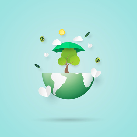 Ecology and environment conservation concept.Paper art of nature concept with save the earth and eco friendly.Vector illustration. Ilustrace