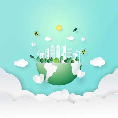 Ecology and environment conservation concept.Paper art of nature concept with save the earth and green eco city background.Vector illustration.