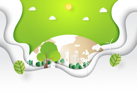 Green abstract nature landscape and eco city background template paper art style.Ecology and environment conservation creative idea concept.Vector illustration.