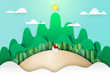 Paper art of nature landscape concept with little cattage,forest and mountains background.Ecology and environment conservation concept.Vector illustration.