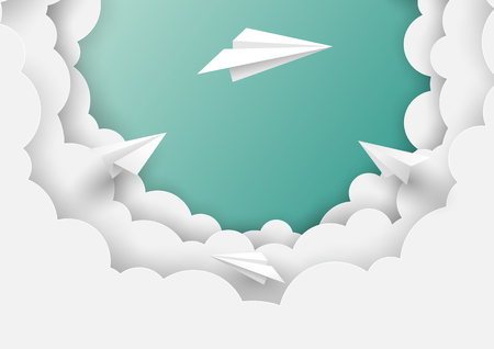 Paper airplanes flying on cloudscape and sky background.Paper art of business teamwork concept vector illustration.