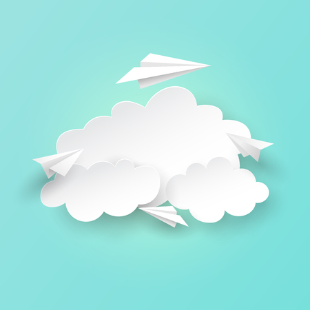 Paper airplanes flying on clouds and sky background.Paper art of business teamwork concept vector illustration.