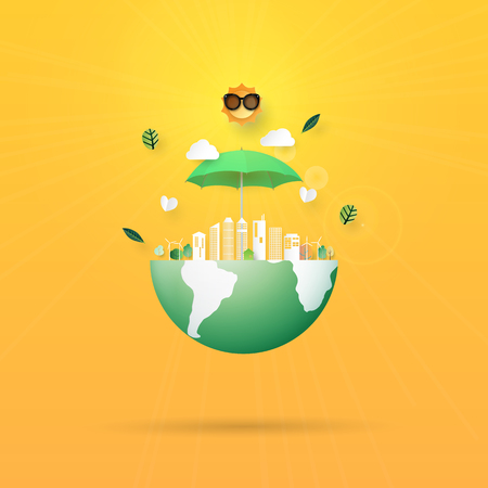 Stop global warming,Save the earth concept paper art style.Ecology and environment conservation concept.Vector illustration.
