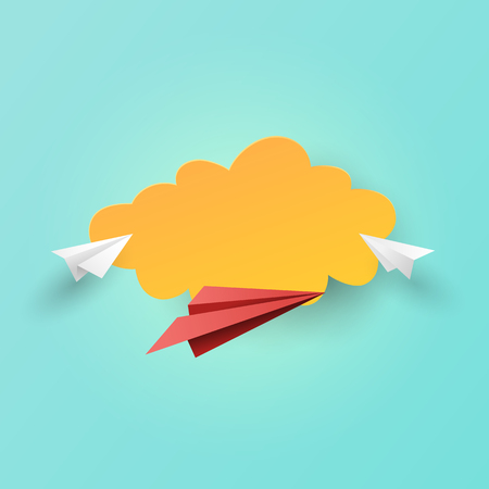 Paper airplanes flying on clouds and sky background.Paper art of business leadership and teamwork concept vector illustration. Ilustrace