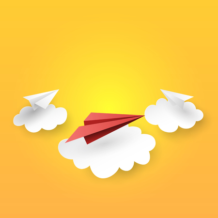 Paper airplanes flying on clouds and yellow sky background.Paper art of business leadership and teamwork concept vector illustration.