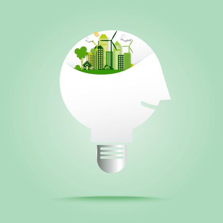 Human thinking on green eco city with save energy and recycle concept in light bulb paper art style.Ecology and environment conservation concept vector illustration