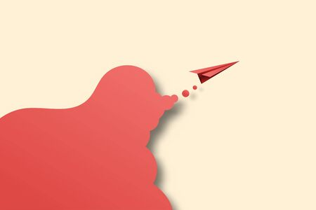 Paper art style of business success and leadership creative concept idea with red paper airplane.Vector illustration.