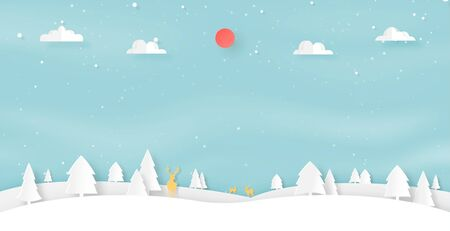 Paper art of winter season landscape and christmas concept background with deer wildlife and pine forest.Vector illustration.