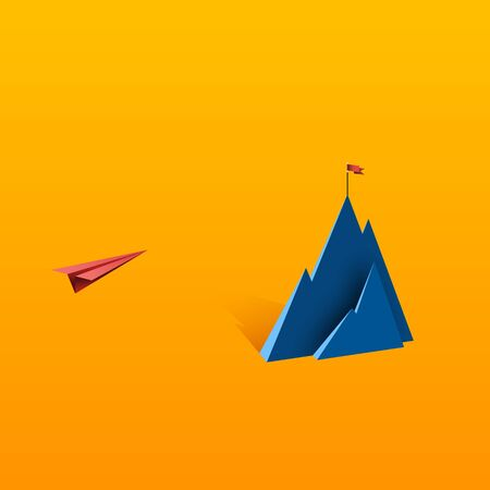 Red paper airplane flying to red flag on the top of mountain.Business leadership and success concept flat design.Vector illustration.