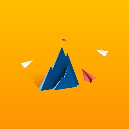Paper airplane teamwork flying to red flag on the top of mountain.Business leadership and success concept flat design.Vector illustration. Çizim