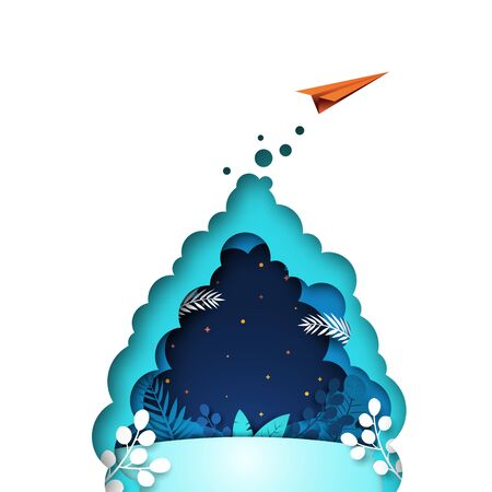 Red paper airplane flying on blue background with plants and leaf template background. Business startup concept vector illustration. 向量圖像