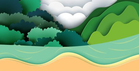 Nature landscape background with cliff,waterfall,mountains and forest paper art style.Vector illustration.