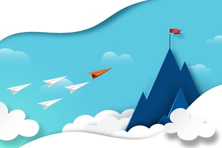 Paper airplane teamwork flying to red flag on the top of mountain.Business leadership and success concept paper art style.Vector illustration. Ilustracja