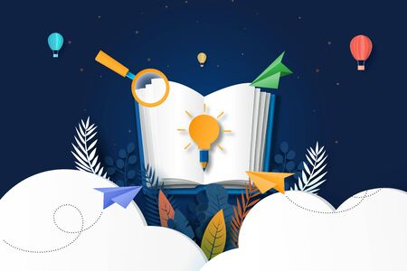 Open book With learning, education and explore concept paper art style landing page website template. Business concept vector illustration.