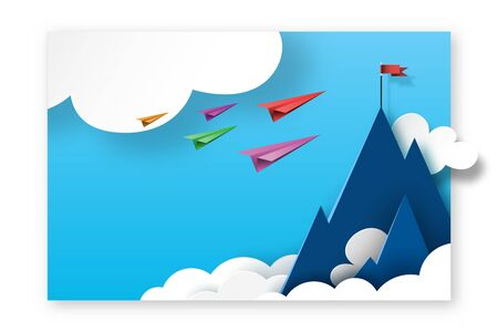 Paper planes teamwork flying to red flag on the top of mountains. Paper art of business landing page template background. Vector illustration. Illustration