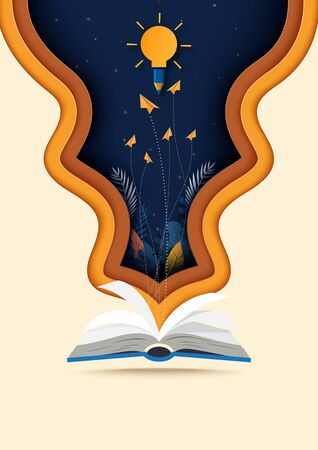Open book with learning,education and explore concept background template paper art style.Vector illustration.