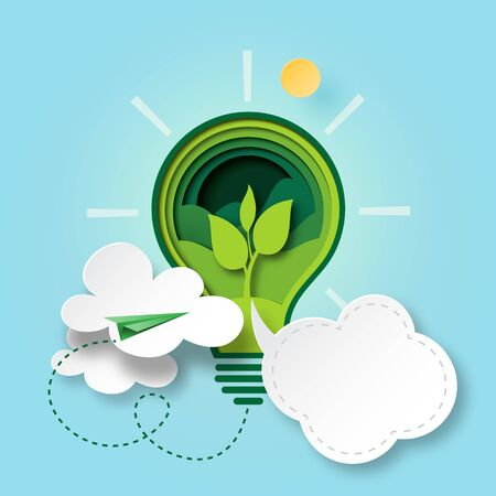 Paper cut of green ecology and environment conservation concept with seedling in light bulb and cloud bubble speech. Vector illustration.