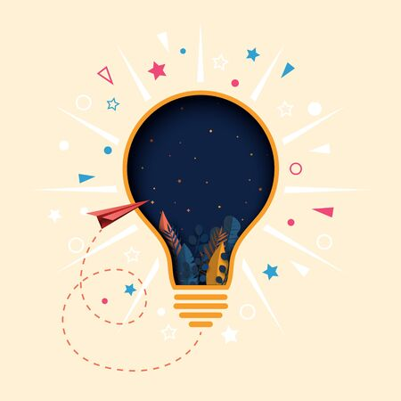 Creative thinking light bulb paper cut abstract background. Concept of business, learning and education.
