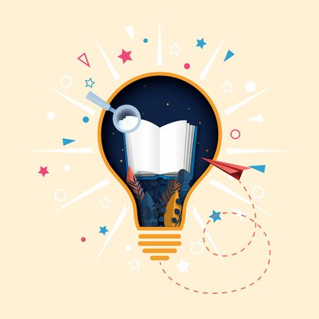 Creative light bulb and open book paper cut abstract background.Concept of learning and education.