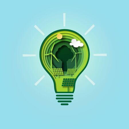 Paper cut light bulb of green energy for ecology and environment conservation concept.Vector illustration.