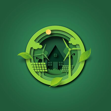 Paper cut of green ecology and environment conservation concept with save energy and sustainable resource.Vector illustration.