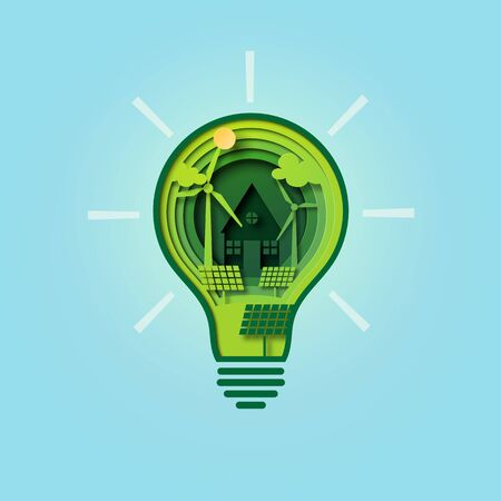 Paper cut light bulb of green ecology and environment conservation concept.Vector illustration.