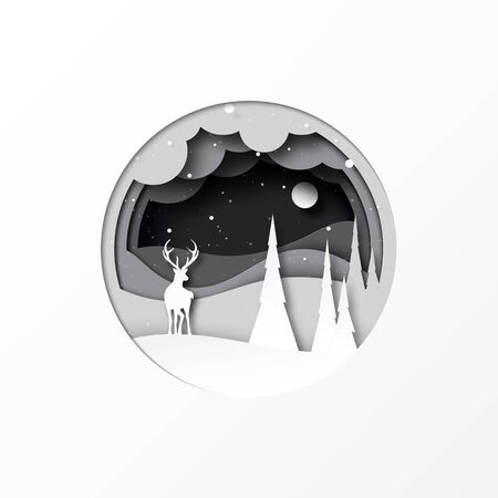 Paper cut of deer and pine forest winter season landscap.Merry christmas and happy new year concept background.