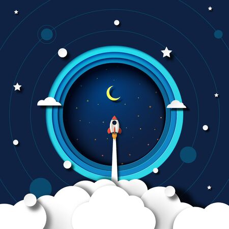 Paper art of rocket ship launch explore to galaxy outer space template background.Vector illustration. Illustration
