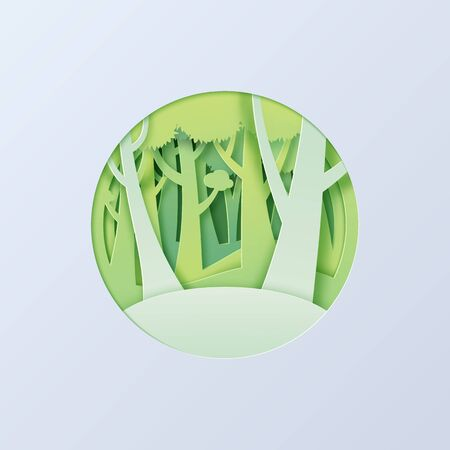 Green forest paper cut abstract background.Ecology and environment sustainable conservation creative idea concept paper art style.Vector illustration.