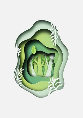 Green plant and forest paper cut abstract background.Vector illustration.