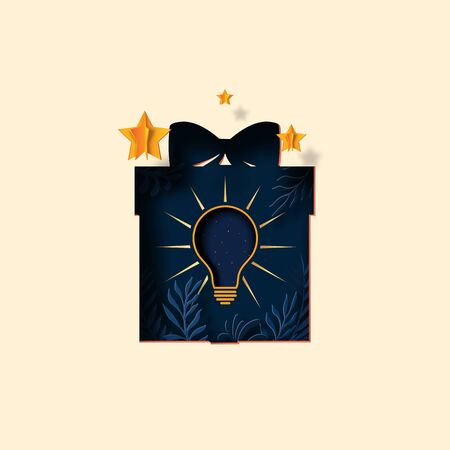 Creative light bulb in gift box with tropical plant leaf and gold stars paper cut style.Vector illustration.