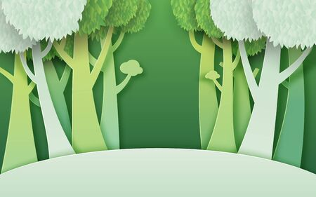 Eco green nature forest background template.Ecology and environment sustainable conservation creative idea concept paper art style.Vector illustration.