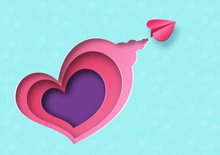 Paper art style of love concept and valentine day greeting card template background.Vector illustration.