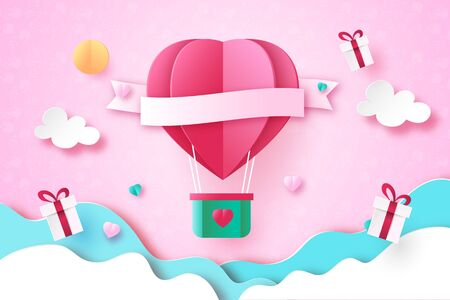 Paper art style of love,heart and valentine's day greeting card template background.Vector illustration. Illustration