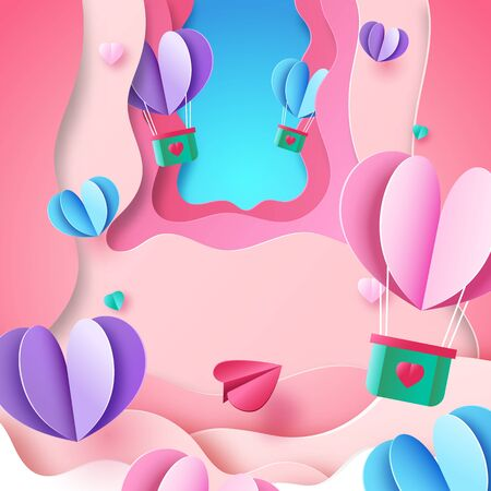 Paper art style of valentine day greeting card template background.Love and heart concept vector illustration.
