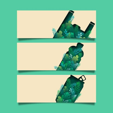 Set of green banner background template.Zero waste of ecology and environment concept.Paper cut vector illustration.