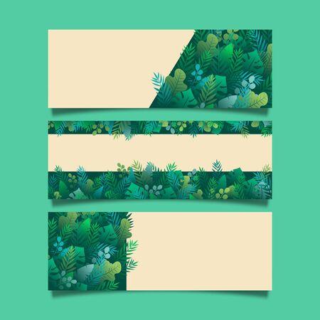 Set of tropical green leaf nature landing page banner background template.Vector illustration.